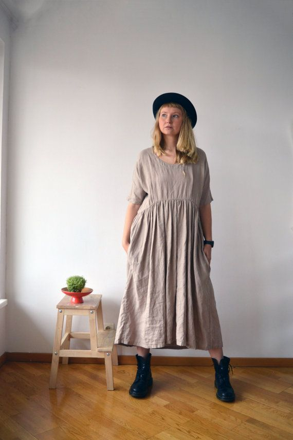 Surdimensionné tunique, Tunique robe, tunique de lin brun clair, womens tunique, plus la tunique de taille, de tunique de lin tops tuniques lin pour les femmes de plus maxi taille