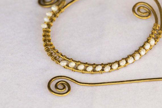 Spilla wire in ottone ferma-capelli ottone con perle agata
