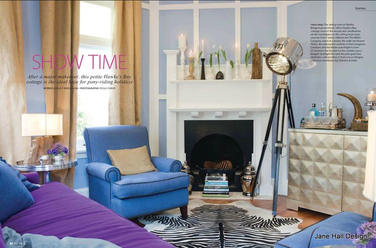 Cornflower blue chairs and lilac purple upholstery in a traditional