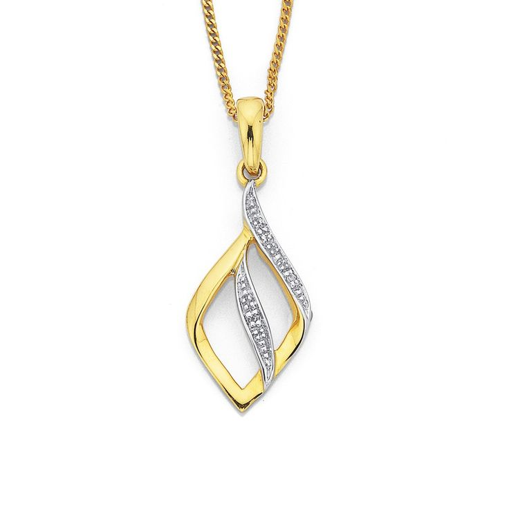 9ct, Diamond Set Twist Pendant - Pascoes The Jewellers