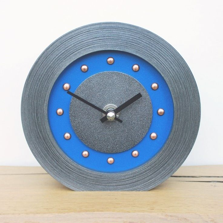 dark blue mantel clock with copper studs and hands - Mantel Der Ideen Mit Uhr Verziert