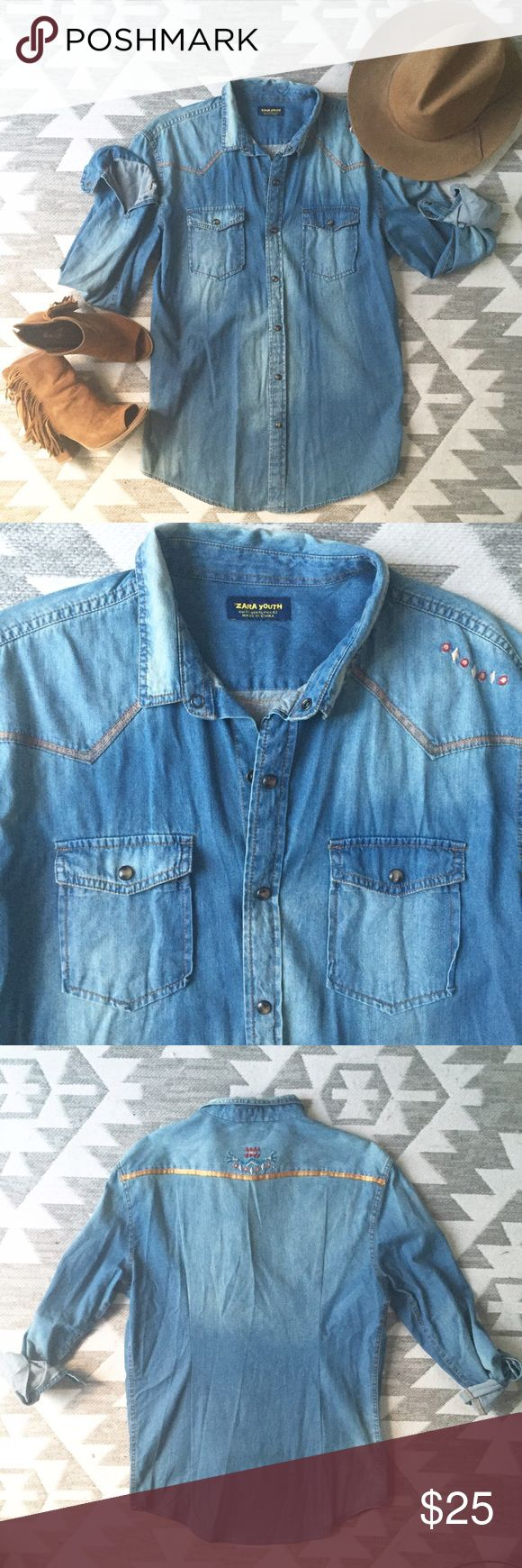 ✨NEW LISTING✨ Zara Youth denim long sleeve shirt❤️ A MUST HAVE in your wardrobe! Everyone NEEDS a denim longs sleeve in their wardrobe. This will be your new favorite staple during the Fall!!🍂Can be worn cowgirl style or more contemporary when you add an embellished necklace and a few bangle bracelets! ZARA YOUTH. Size XL. Also fits adult M/L. Extra long. Can be worn open and layered with a cute tank👍🏼Button snap closure. Zara Tops Button Down Shirts
