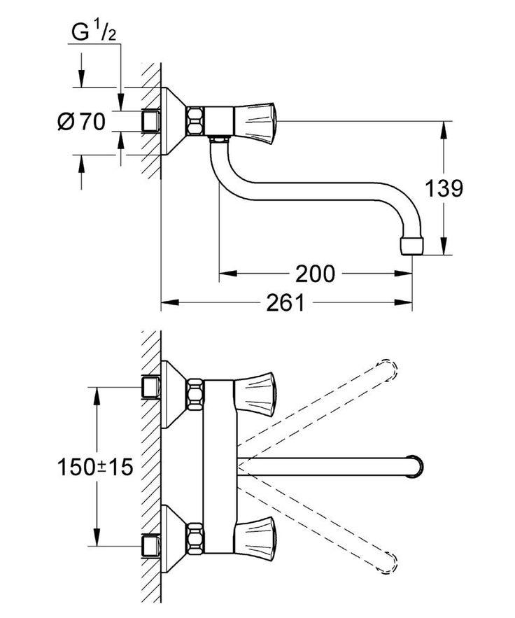 Grohe Costa - Spültisch-Wandbatterie DN 15 Masszeichnung
