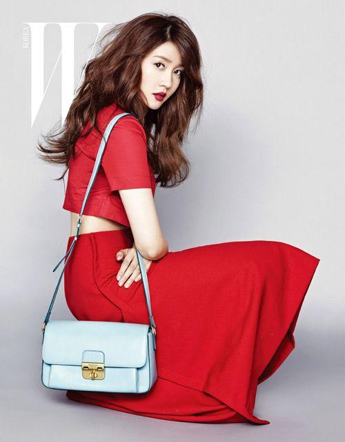 red crop top x red #skirt :: Sung Yu Ri for W Magazine Korea, February 2013