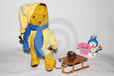 The teddy bear Morulet to toboggan. The bear is bought from the supermarket 50 years ago.