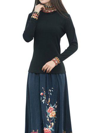 Ethnic Turtleneck Patchwork Printing Long Sleeve Slim Women Shirt at Banggood