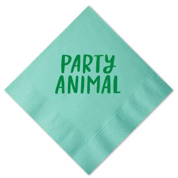 Party Animal Beverage Napkins, Aqua with Green