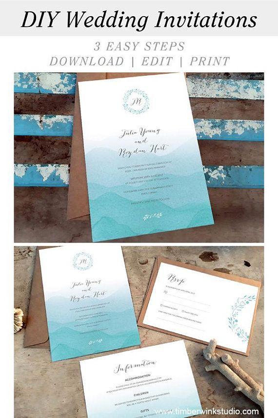 Beach Wedding Invitation Templates Wave Wedding Invites Etsy Wedding Invitations Printable Templates Beach Wedding Invitations Diy Printable Wedding Invitations