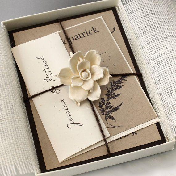 "Rustic Chic Burlap Wedding Invitations, Eco Friendly Invitation, Country Wedding, Rustic Elegant  - ""Ivory Romance Box Invite"" Sample"