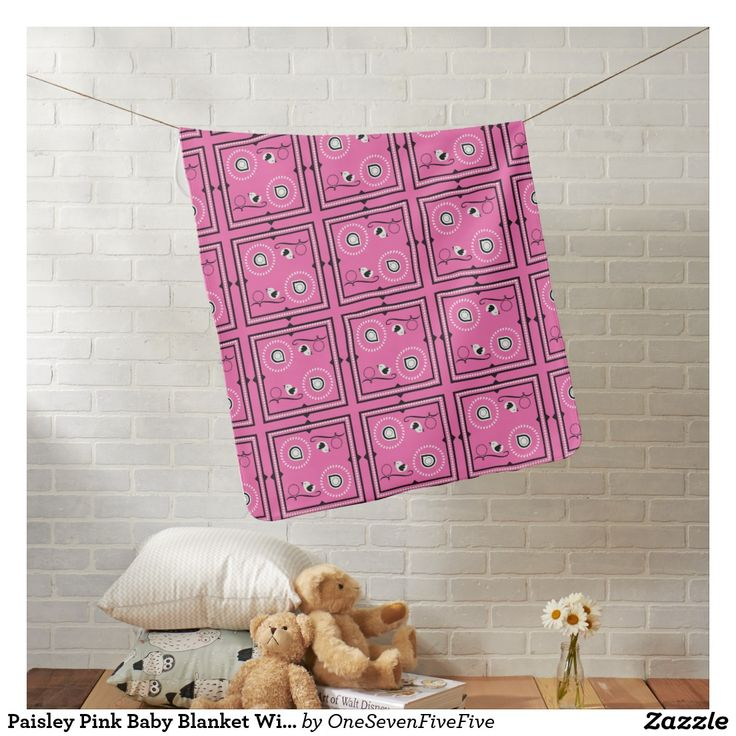 Paisley Pink Baby Blanket With Custom Name This sweet baby blanket is pink with a paisley inspired theme. Singing birds and flowers make up the design on the front. The back side of the blanket has room for the baby's name or any text you wish to add. Baby blanket is also available in a light blue color.