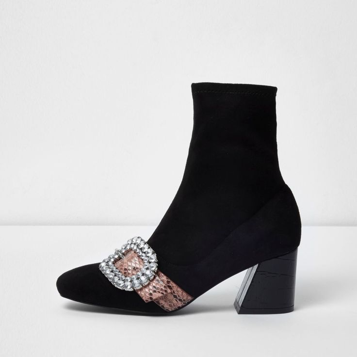 Faux suede fabric upper Sock ankle fit Snakeskin strap with diamante-embellished buckle Flared block heel