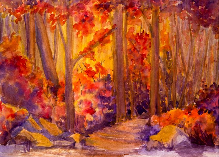 Fall glow - watercolour. An experiment in colour wheel using a favourite locale on Hecla Island. www.gaylehalliwell.com