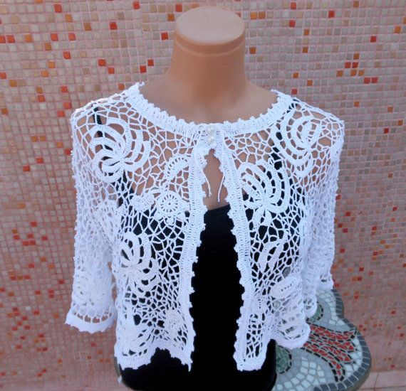 Irish Crochet White Bridal Bolero OOAK by Pamphylian on Etsy, $104.00: Crochet White, Irish Crochet, Crochet Boleros, Crochet Irish, White Bridal, Bridal Bolero, Boleros
