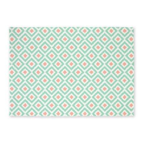 Mint Coral Ikat Pattern 5u0027x7u0027Area Rug