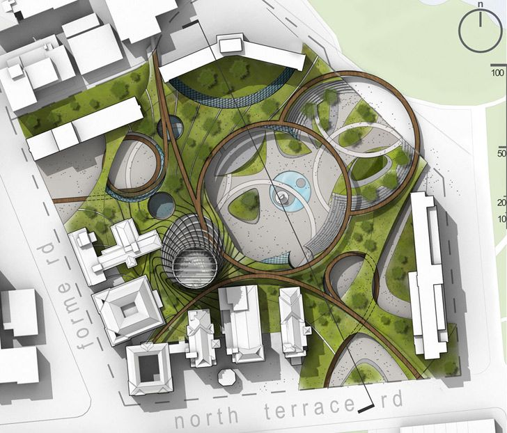 Adelaide green cultural hub comes complete with an energy for Urban design adelaide