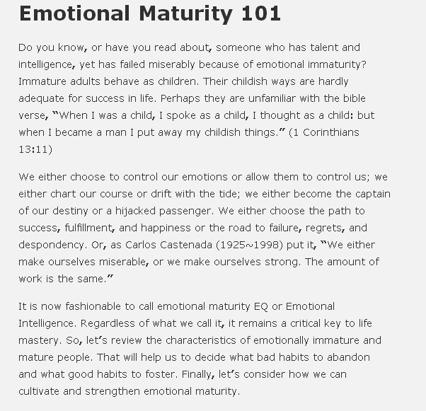 Emotional maturity essay