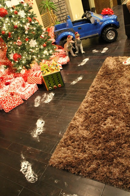 shoes in flour to show santa's steps