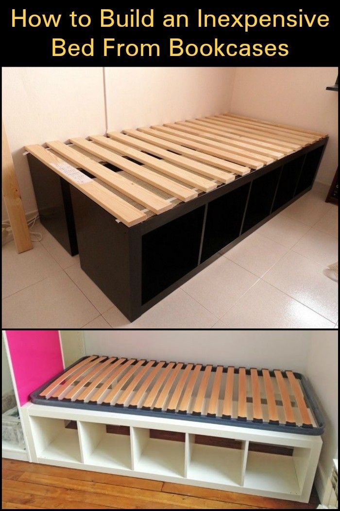 Using bookcases as a bed frame is one easy way to build a bed with storage. #WoodWorking