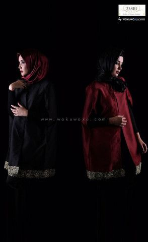 L'zura cape in black and red – wokuwoku (Zaskia dan Shireen Sungkar) available now on www.wokuwoku.com
