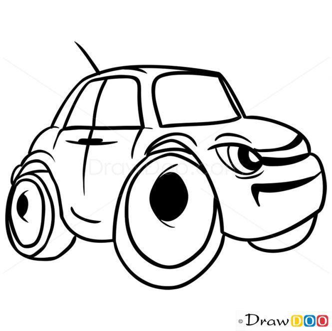 How to Draw Grumpy Car, Cartoon Cars - How to Draw, Drawing Ideas, Draw Something, Drawing Tutorials portal