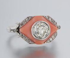 Art Deco Platinum Diamond and Coral Ring