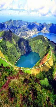 'Lake of Fire' (lake in the crater center) Sao Miguel Island-Azzore, Portugal