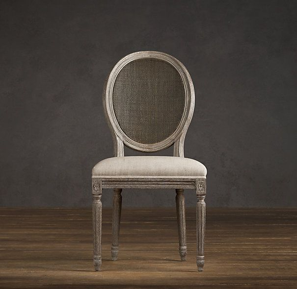 Vintage French Cane Back Round Upholstered Side Chair Upholstered Chairs