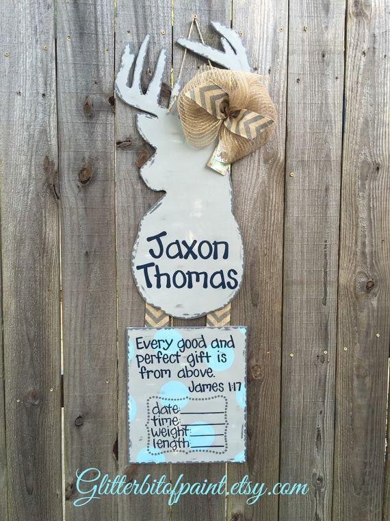 Hospital Door Hanger with Bible Verse and Birth Announcement, Deer Door Hanger and Nursery Art