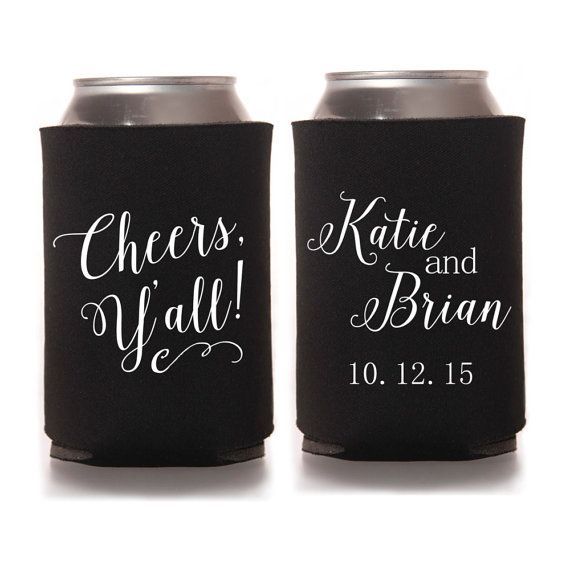 Personalized Wedding Koozies - Cheers Y'all Southern Wedding Favors for Guests, Personalized Reception Favors, Fall Wedding, Country Wedding Can Cozies #weddingkoozies #weddingfavors #fallwedding #rusticwedding