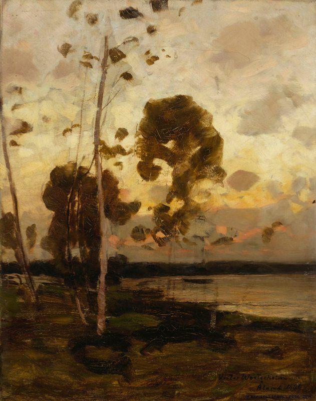 VICTOR AXEL WESTERHOLM Sunset, Landscape from Åland (1886)