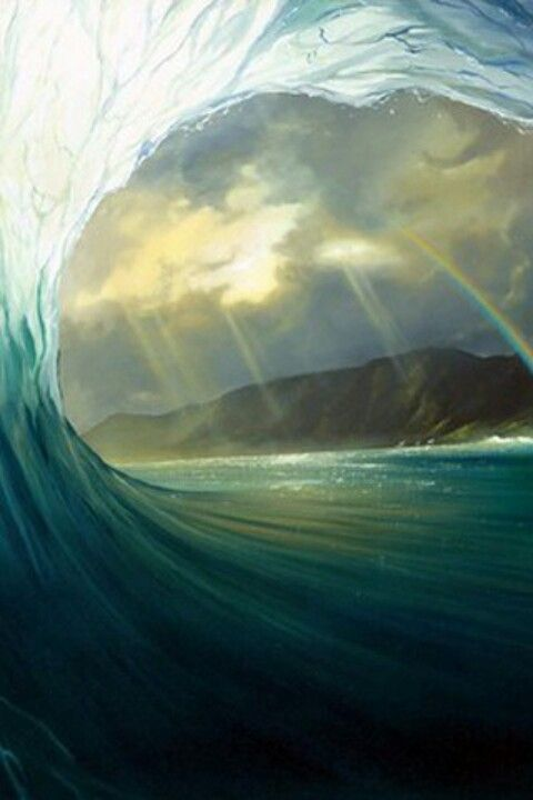 Beautiful Surf Wave Art Painting With Rainbow And Clear Water From The Inside Looking Out Barrel Artist Unknown