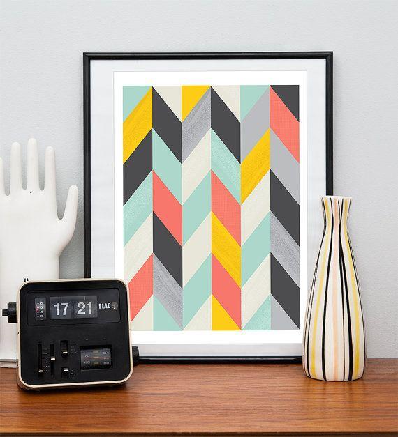 Abstract art, Geometric Art, Harlequin, Retro poster, Mid century modern, Colorful, Scandinavian print