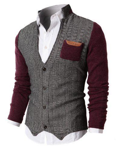 H2H Mens Herringbone Cardigan Sweater Of Knitted Sleeves