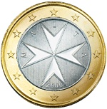 New Maltese Cross Coin 1 Euro 2008...today one Euro is worth 1.316 US Dollars, and so a US Dollar is worth 0.76 Euros.