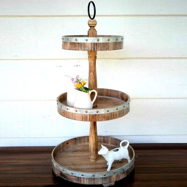 Metal And Wood 3 Tier Round Tray Stand Tiered Tray Decor Round Tray Farmhouse Centerpiece