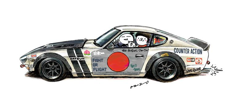 """All the best wishes in 2016! car illustration """"crazy car art"""" jdm japanese old school """"S30Z"""" original cartoon """"mame mame rock"""" / © ozizo """"Crazy Car Art"""" Line stickers LINE STORE http://line.me/S/shop/sticker/author/92016"""