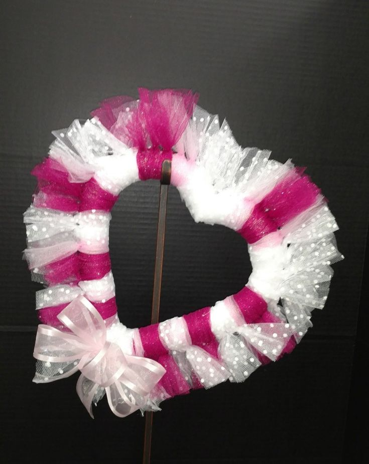 Valentine's day tulle heart wreath by Laura Lake @AC Moore