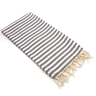 Authentic Pestemal Fouta Graphite Grey Turkish Cotton Beach Towel | Overstock.com