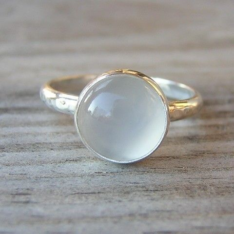 Moonstone and Sterling Ring with Recylced Silver, READY to Ship Size 7. $98.00, via Etsy.