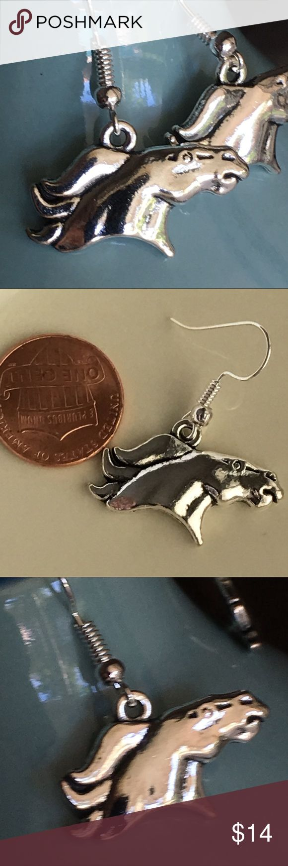 Bronco horse 🐴 earrings Broncos horse 🐴 heads on silver ear wires. Jewelry Earrings
