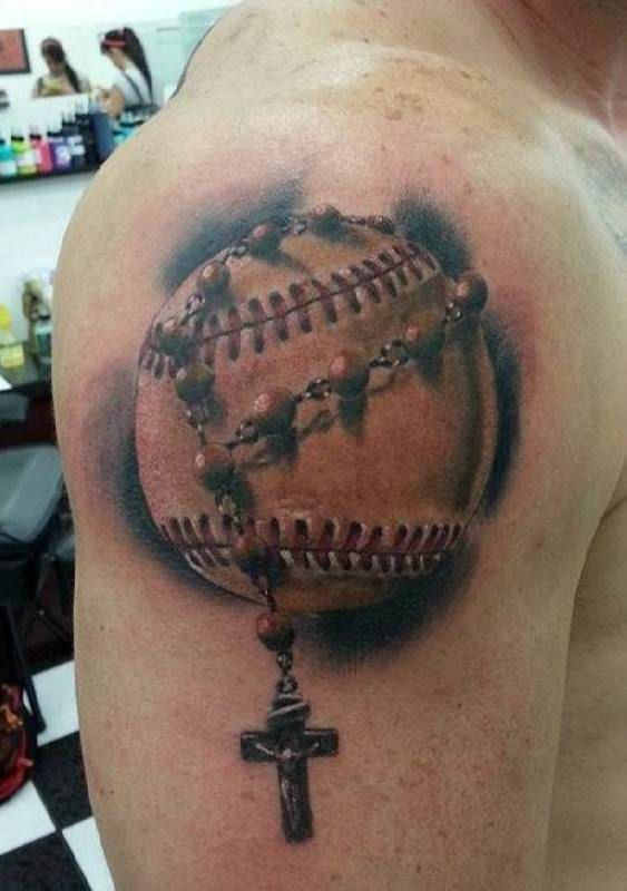 Tattoo Baseball with cross   #Tattoo, #Tattooed, #Tattoos