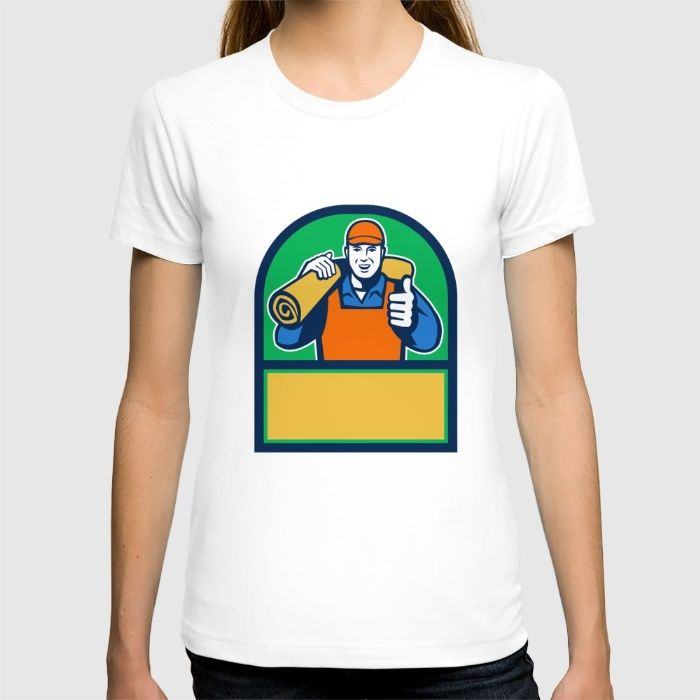 Carpet Layer Carry Mat Thumbs Up Half Circle Retro T-shirt. Illustration of a male carpet layer smiling with thumbs up and carrying roll of mat carpet on shoulder viewed from front set inside half circle done in retro style. #illustration #CarpetLayerCarryMat