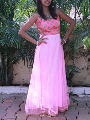 Baby Pink Fusion Gown with Shoulder Sheer Bodice | Sweta Sutariya