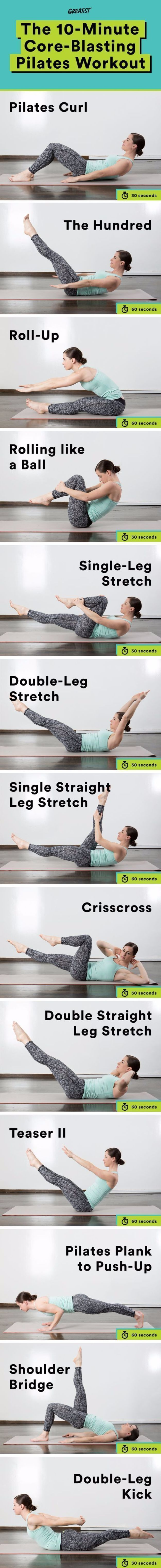 Best Quick At Home Workouts - 10 Minute Core Workout Pilates Curl - Easy Tutorials and Work Out Ideas for Strength Training and Exercises - Step by Step Tutorials for Butt Workouts, Abs Tummy and Stomach, Legs, Arms, Chest and Back - Fast 5 and 10 Minute