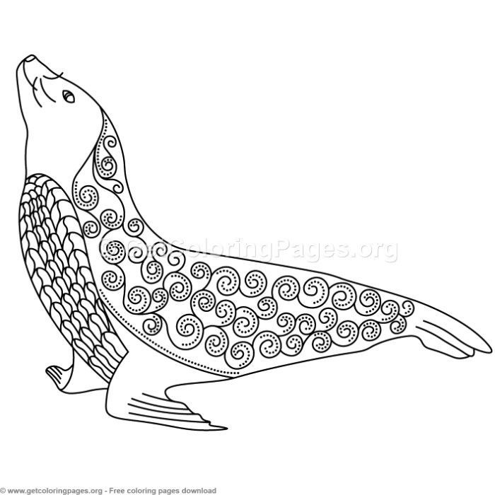 Seal Zentangle Coloring Pages Free Instant Download Coloring Coloringbook Coloringpages Zentangle Coloring Pages Zentangle Animals Animal Coloring Pages