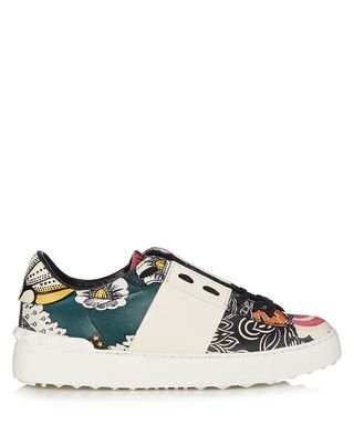 Women's white floral leather sneakers Sale - Valentino Sale