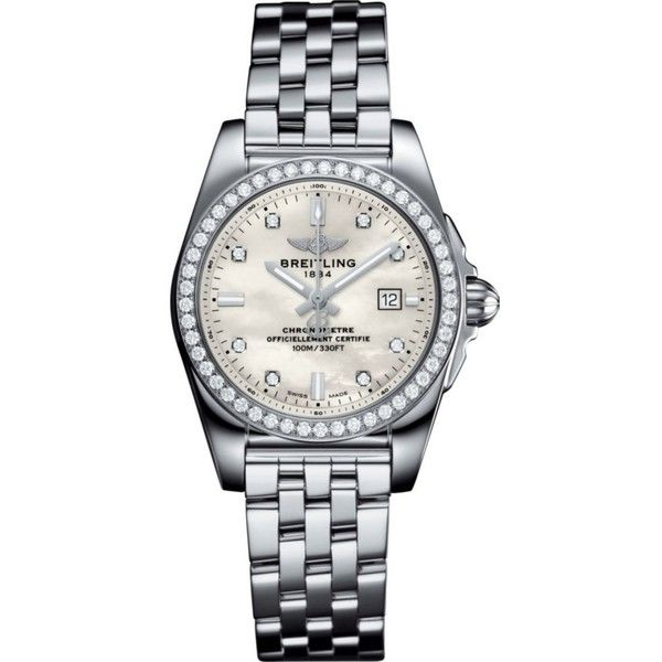 BREITLING Galactic 36 Automatic stainless steel and diamond watch (9 735 BGN) ❤ liked on Polyvore featuring men's fashion, men's jewelry, men's watches, mens diamond watches, mens diamond bezel watches, breitling mens watches and mens stainless steel watches