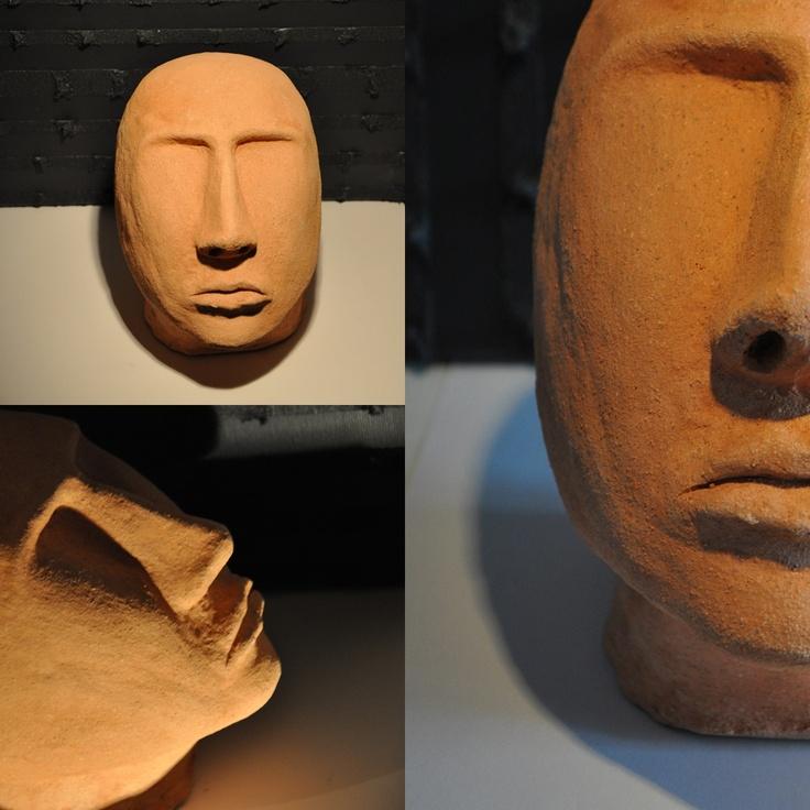ceramic head 5 fired clay sculpture by iza hazell