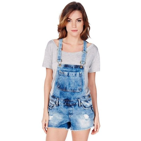 Justfab Apparel Distressed Overalls ($40) ❤ liked on Polyvore featuring jumpsuits, apparel, apparel & accessories, blue, distressed overalls, justfab, blue overalls, blue jumpsuit and cotton jumpsuit
