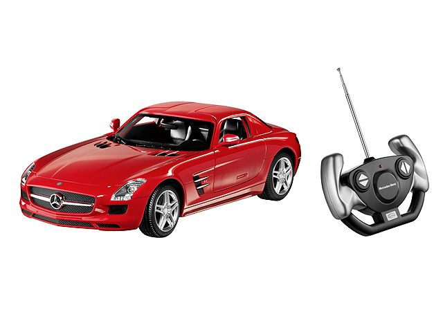 SLS AMG Coupé C197 red B66960345 Material information:     plastic Material property:     painted  SLS AMG Coupé, C197, various colours. Plastic. Scale 1:14. Remote-control model (27 MHz).  Detailed replica based on original CAD data. AMG 5-twin-spoke light-alloy wheels. Accurate, high-quality, printed interior.  Gullwing doors can be opened. By Rastar for Mercedes-Benz. Age 3+